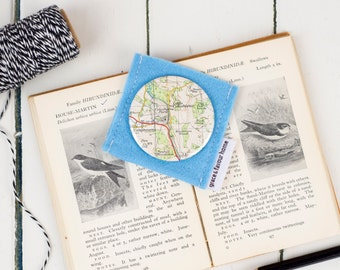 Vintage Map Mirror, compact handbag mirror, protective felt pouch included