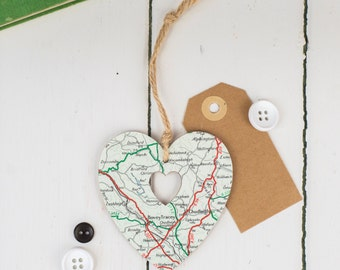 Personalised Map Heart, choose your location, bespoke hanging keepsake, can be personalized