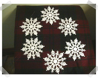 Snowflake Ornaments/ Plastic & Glitter/ Set of 6/Craft Supplies*