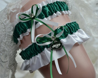 New York Jets-Theme Wedding Garter Set -Bridal Garter -Sport Garter