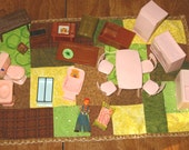 Dollhouse Furniture lot, Pink and Brown plastic 50s 60s vtg plus Baby and Boy