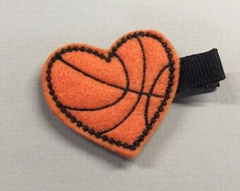 Felt Heart Orange/Black Basketball Lover Alligator Single Prong Hair Clip - Fully Lined