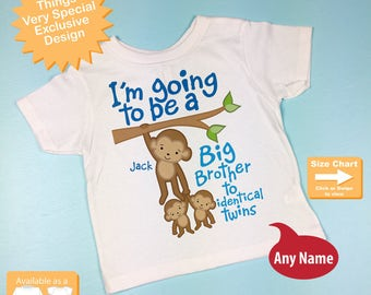 I'm going to be A Big Brother to Identical Twins Shirt or Onesie Monkey Shirt, Big Brother Monkey with twin babies, Personalized (02122015d)