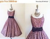 ON SALE 1950s Dress - Vintage 50s Dress - Chocolate Nude Lace Illusion Bow Belt Party Prom Dress S - Ganache