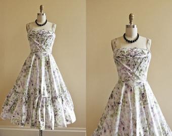 50s Dress - Vintage 1950s Dress - Novelty Print Cotton Tree Forest Full Skirt Sundress XS - Take a Bough