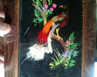 Vintage Mexican Bird Feather Art Picture