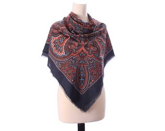 Large Bohemian Shawl Wrap Paisley Print Boho GIPSY Wool Like Oriental Print Hippie Festival Rust Brown Extra Large Nomad Scarf 44 inch
