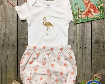 Flamingo First Birthday bloomers and onesie