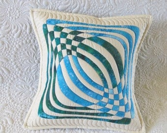 Quilted Pillow Cover- blue and gree applique design