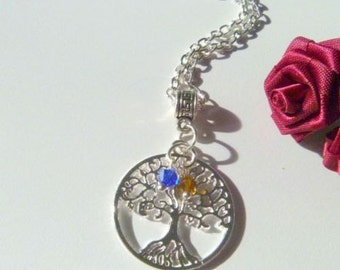 Handcrafted Mother's Tree of Life Necklace with Children's Birthstones