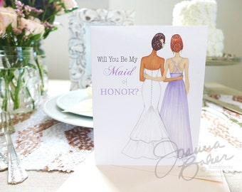 Semi-Custom Will You Be My Maid of Honor? Note Card / Maid of Honor Note Card, Bridesmaid Note Card, Wedding Stationery, Bridal Card
