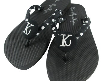 Monogram Bridesmaid Flip Flops -black white polka dot or choose your colors,