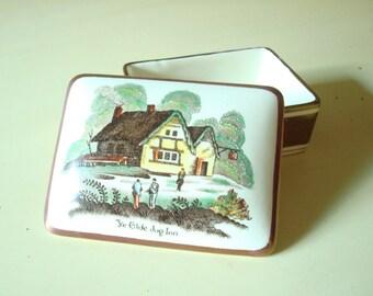 Lustreware box, Ye Old Jug Inn, country scene, trinket box, cigarette box, keepsake box, jewelry box, English porcelain, Gray's Pottery