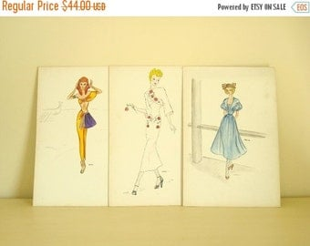 1940s fashion illustrations, set of 3, original couture watercolors, post-war fashion drawings, hand drawn designs, Wisconsin artist