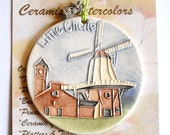 Little Chute Windmill Ceramic-Watercolor Ornament for wall or tree plus free gift wrap, original, 100% handmade