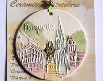 Marquette University Ceramic-Watercolor Ornament for wall or tree plus free gift wrap, original, 100% handmade