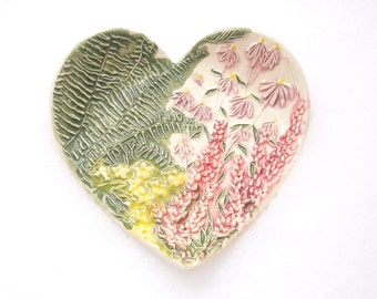 Handmade Ceramic Heart features raised ferns, Marsala Lavender & purple cone flowers trinket ring soap dish gift by Faith Ann Originals h9