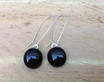 Black Fused Glass Sterling Silver Danglies Earrings