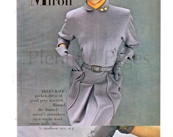 1950 Miron Woolens Vintage Ad, Ellen Kaye Pocket-Dress, 1950's Fashion, Retro Fashion, 1950's Dress, Advertising Art, Grey Worsted Flannel.
