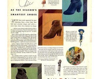 1931 Ball Band Shoes Vintage Ad, 1930's Fashion, Retro Fashion, 1930's Shoes & Boots, Advertising Art, Retro Ad, Vintage Fashion.