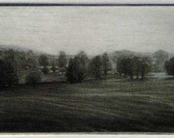 "Original art print ""Scotney Chase"". Mezzotint Edition of 100"