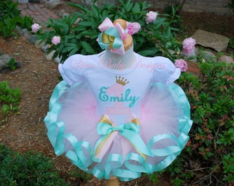Mint, light pink and gold birthday outfits girl 1st 2nd 3rd 4th 5th birthday tutu outfit baby girls first second third fourth birthday dress
