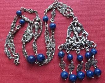 Saint Michael The Archangel 800 Silver Pendant Necklace Holy Innocent Chain Italian Florentine Jewelry Circa 1930 Lapis Beads  SS236