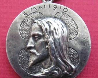 Jesus Antique Religious Medal Saint Dominic French Silver Pendant Dated 1910      SS 259