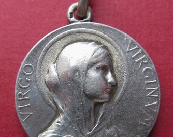 Antique Silver  Our Lady Virgin Of Virgins Religious Medal Signed Vernon French Catholic Medal  SS202