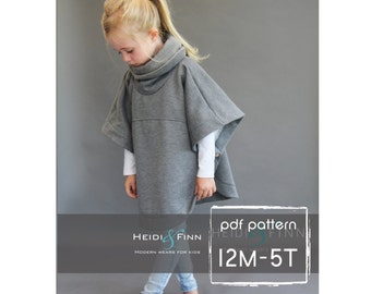 NEW Veritas cape poncho pattern and tutorial 12m-5t  holiday jacket  coat bolero PDF