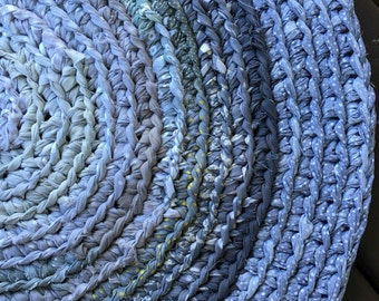 Gray Round Cotton Crocheted Rug