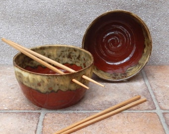 Noodle or rice bowl hand thrown in stoneware ceramic pottery