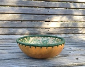 Bowl with Green Linen Rim
