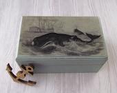 Whale Hunt Rustic Wooden Cedar Box - Whale / Nautical theme decorative keepsake box - Beach Cottage Decoration - Nautical Jewelry Box