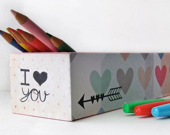 Geometric Arrow Pencil Box Case -Trendy Kids Crayon Box - Coloring book pencil box storage