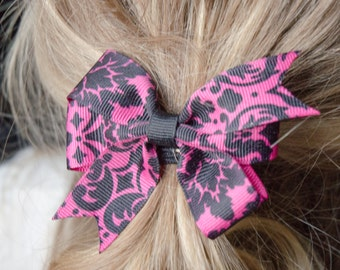 Hair Bow - Small Black on Pink Damask Print Pinwheel Bow, Girls Hair Bow, Baby Hair Bow