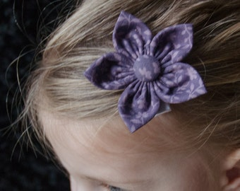 Hair Bow - Purple Calico Fabric Flower, Girls Hair Bow, Baby Hair Bow