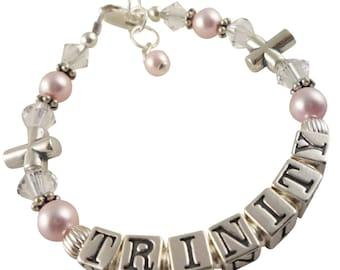 Cross First Communion Bracelet, Crystal Name bracelet/ Girl Bracelet /Baptism Bracelet/christening/rosaline swarovski pearls/sterling baby