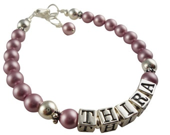 Powder rose Pink Pearl name or initial bracelet for girls- color/size options