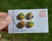 Fabric Button Thumb Tacks / Push Pins - Yellow