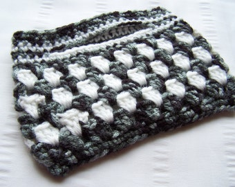 Small crochet handbag white black ready to ship top handle bag