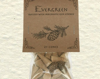 Evergreen Blend Incense Cones 'Inner Journey' with Moldavite Gem Essence, Pine, Dragon's Blood Oil, Cedarwood