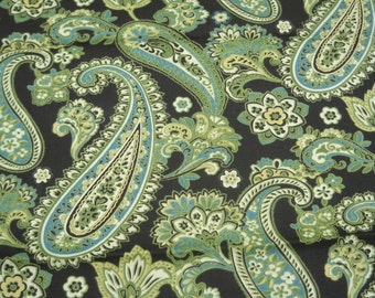 Paisley Home Dec Fabric, Lovely Green, Ivory, and Blue on Brown Background