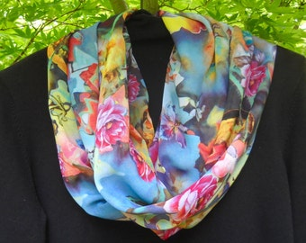 Infinity Scarf, Circle Scarf, Silky Infinity Scarf, All Season Scarf in Wonderful Floral Pattern