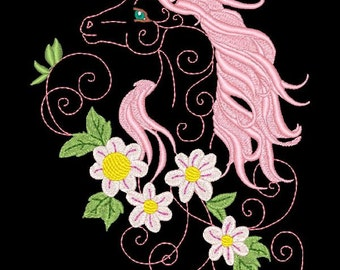 FANTASY FLORAL HORSES #2- 1 Machine Embroidery Design Instant Download 4x4 5x7 6x10 hoop (AzEB)