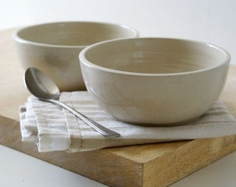 SECONDS SALE - Two large stoneware pottery salad bowls in simply clay