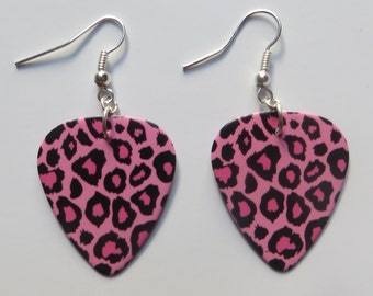 Steel Panther inspired pink and black animal print guitar picks earrings