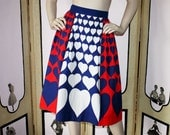 Vintage 1970's Heart Skirt by Lanz. Red, White and Blue. XS.