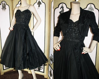 50's Black Rhinestone Party Dress with Bolero and Belt. XS to Small.