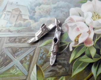 Vintage STERLING Silver Pair of Skis Charm